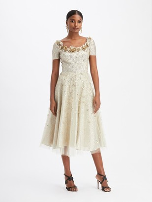 Oscar de la Renta Gold Embroidered Cocktail Dress