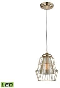 Elk Lighting Yardley 1 Light Pendant in Polished Gold with Mercury Glass