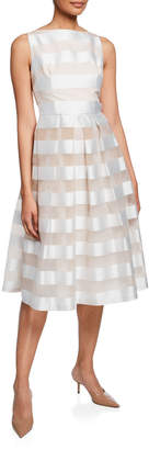 Lela Rose Striped Full-Skirt Dress