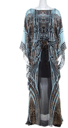 Roberto Cavalli Multicolor Leopard Print Silk Maxi Kaftan Dress S