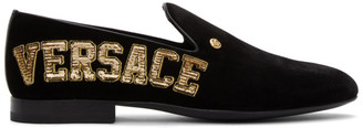 Versace Black Velvet Logo Loafers