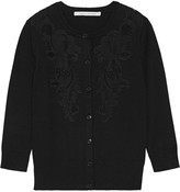 Diane von Furstenberg Cooper corded lace-paneled stretch-knit cardigan