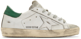 Golden Goose White and Green Glittered Superstar Sneakers