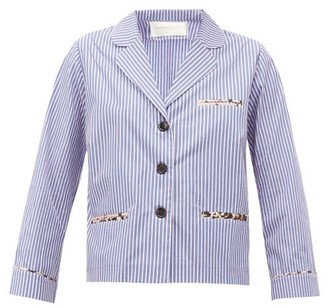 La Prestic Ouiston Jacquard-stripe Cotton-poplin Blouse - Blue Multi