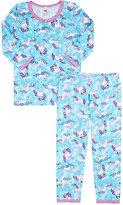 Esme Unicorn-Print Cotton-Blend Jersey Pajamas-BLUE