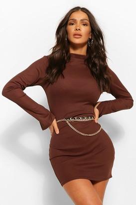 boohoo High Neck Split Sleeve Bodycon Mini Dress