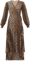 Ganni Leopard-print Stretch-mesh Wrap Dress - Womens - Leopard