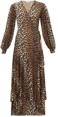 Ganni Leopard-print Stretch-mesh Wrap Dress - Leopard