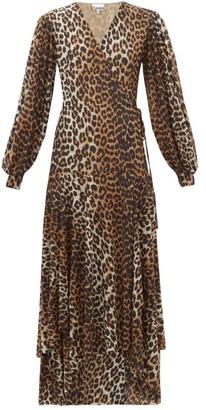 Ganni Leopard-print Stretch-mesh Wrap Dress - Womens - Leopard