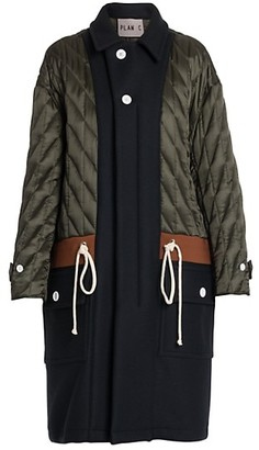 Plan C Quilted Colorblock Drawstring Wool Coat