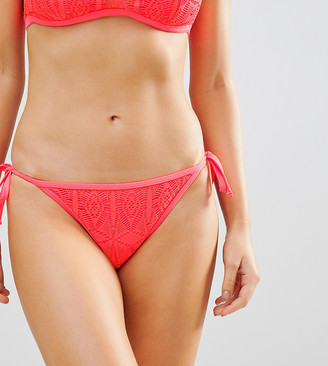 New Look Crochet High Neck Bikini Bottoms-Orange