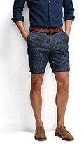 "Classic Men's Print 9"" Casual Chino Chambray Shorts-Midnight Blue Seersucker"
