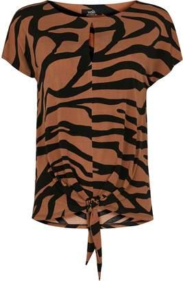 Wallis Rust Zebra Print Tie Front Top
