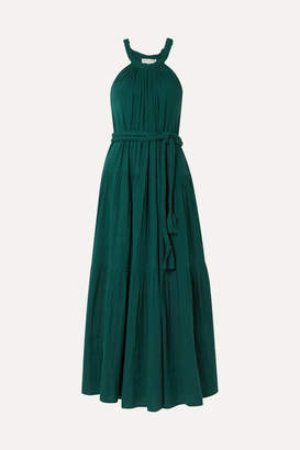 Apiece Apart Escondido Belted Crinkled Cotton-voile Maxi Dress - Emerald