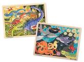 Melissa & Doug ; Animals Wooden Jigsaw Puzzles Set - Ocean Pals and Dinos...
