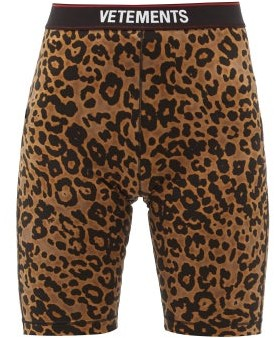 Vetements Logo-jacquard Leopard-print Jersey Cycling Shorts - Leopard