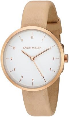 Karen Millen Women's Cream Leather Strap Watch