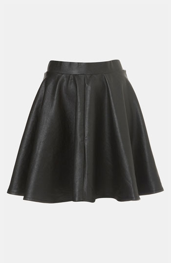 Topshop 'Andie' Faux Leather Skater Skirt
