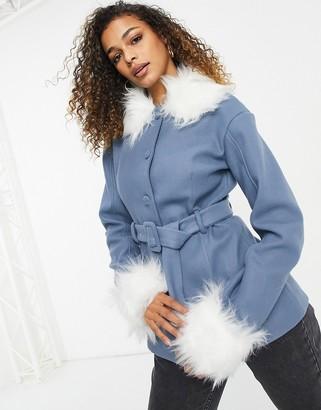 UNIQUE21 faux fur trimmed coat in blue
