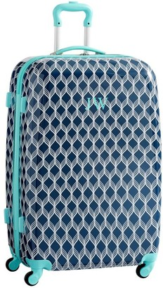 Pottery Barn Teen Hard-Sided Navy/Pool Bryn Checked Spinner