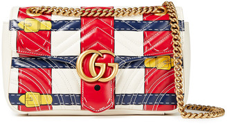 Gucci Gg Marmont Trompe L'oeil Printed Quilted Leather Shoulder Bag