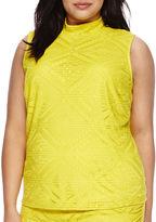 Bisou Bisou Sleeveless Mock-Neck Diamond Lace Top - Plus
