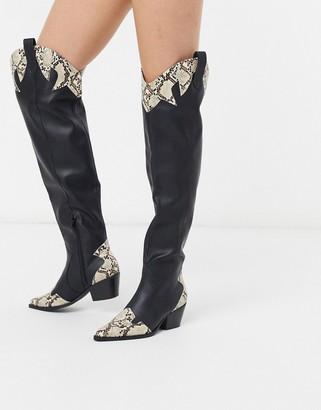 Public Desire Lasso over the knee western boots in black
