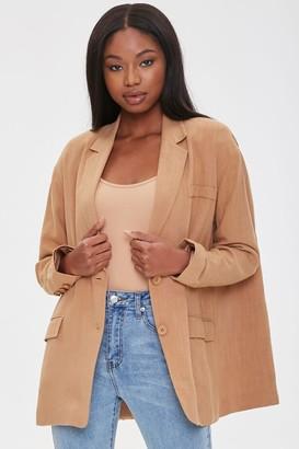 Forever 21 Linen-Blend Button-Front Blazer