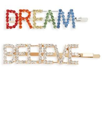 Bari Lynn Dream Believe 2-Piece Swarovski Crystal-Embellished Hair Clip Set