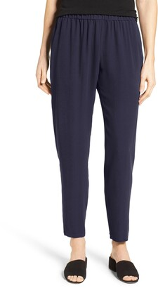 Eileen Fisher Slouchy Silk Crepe Ankle Pants