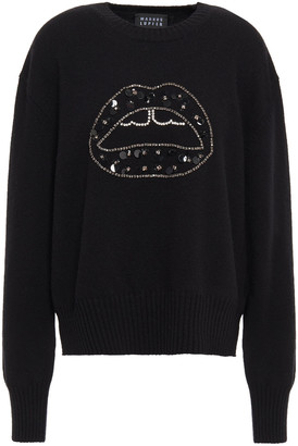 Markus Lupfer Crystal And Sequin-embellished Wool Sweater