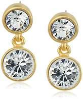 Kenneth Jay Lane 2 Drop Post Earring In Gold Crystal Drop Earrings