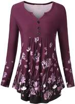 WAJAT Women's Long Sleeve V Neck Front Pleated Flared Comfy Loose Tunic Top Purple L