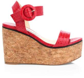Jimmy Choo Abigail Croc-Embossed Leather Cork Wedge Sandals