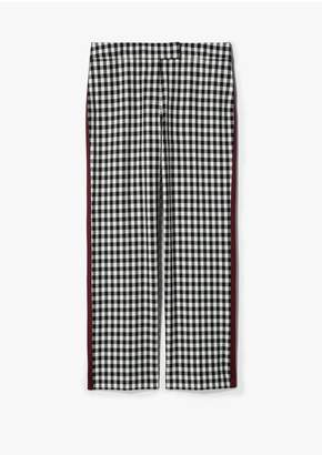 Derek Lam 10 Crosby Straight Leg Gingham Trouser With Tuxedo Stripe