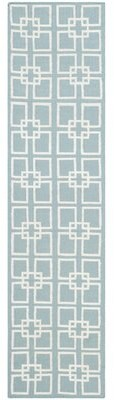 "Martha Stewart Square Dance Handwoven Flatweave Geyser Blue Area Rug Rug Size: Runner 2'3"" x 7'"