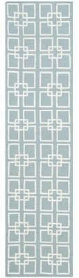 "Martha Stewart Square Dance Handwoven Flatweave Geyser Blue Area Rug Rug Size: Runner 2'3"" x 9'"