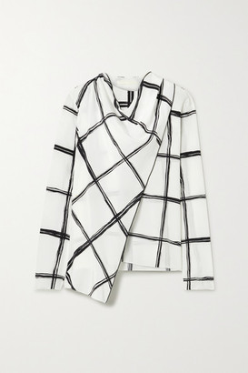 Jason Wu Collection - Draped Checked Silk-crepe Blouse - White