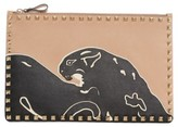 Valentino Large Rockstud Panther Leather Pouch - Brown