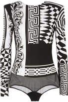 Versace Mesh-paneled Printed Jersey Bodysuit - Black