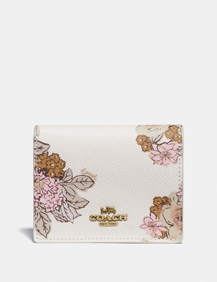 Coach Small Snap Wallet With Floral Bouquet Print