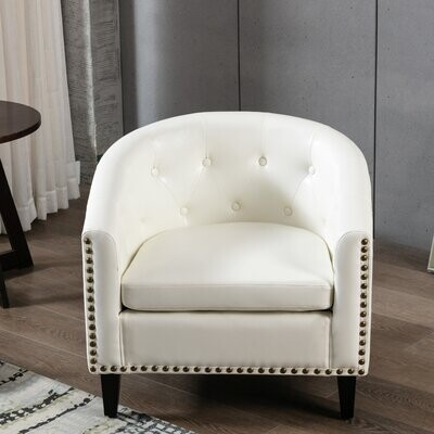 Thumbnail for your product : Red Barrel Studio PU Tufted Barrel Chair With Nailhead Trim And Rubber Wood Leg