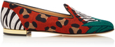 Charlotte Olympia Animal Kingdom Embroidered Canvas Slippers