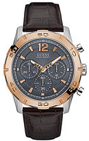 GUESS Chronograph Sport Leather-Strap Watch