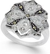 Macy's Marcasite (5/6 ct. t.w.) & Crystal Drop Earrings in Fine Silver-Plate
