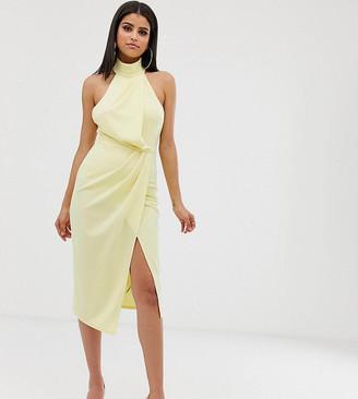 Asos Tall DESIGN Tall halter drape pencil midi dress-Yellow
