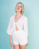 Missy Empire Chantal Cream Tie Front Lace Playsuit