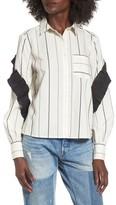BP Women's Grosgrain Ruffle Stripe Shirt