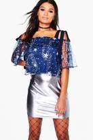 boohoo Tia Star Sequin Shoulder Floaty Top