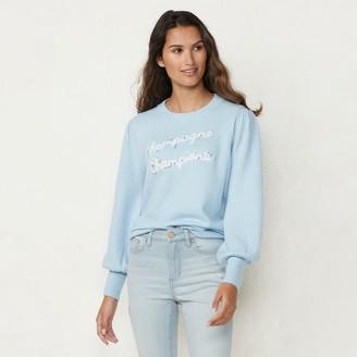 Lauren Conrad Women's Crewneck Graphic Sweater